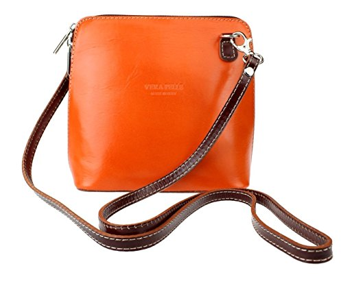 Vera Pelle - Borsa a tracolla Donna Orange Chocolate