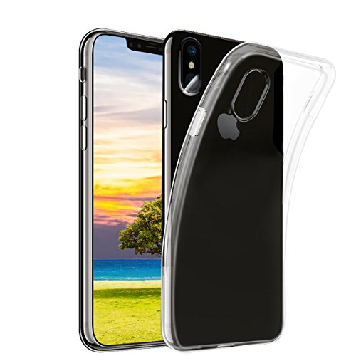 NONZERS Funda para iPhone X,Transparente TPU Carcasa,Ultra Fina 0.15mm,Movil Silicona TPU Case para iPhone X,Anti-Amalillas,Arañazas,Golpes