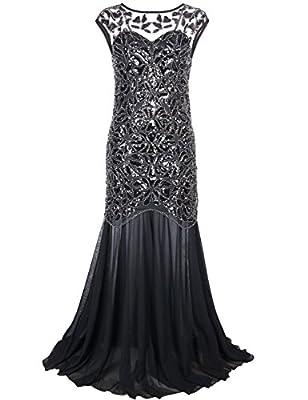 PrettyGuide Women 's 1920s Black Sequin Gatsby Floor Length Evening Prom Dress