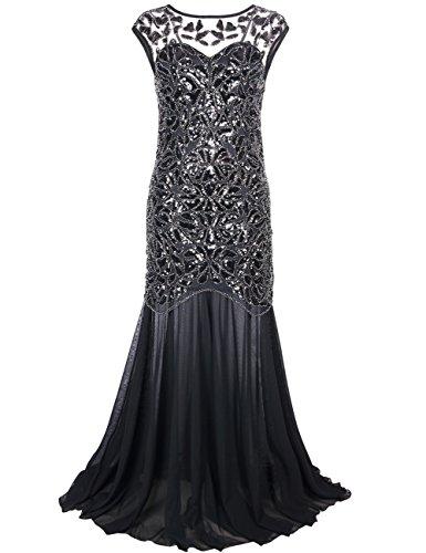 PrettyGuide Damen 1920s Schwarz Pailletten Gatsby Bodenlangen Abendkleid , Schwarz , 44-46 (Herstellergrosse: L) (Der Große Gatsby Kleider)