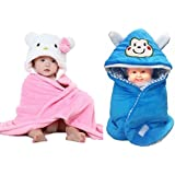 BRANDONN NEWBORN Combo Of Furry Glacier Hooded Smily Baby Blanket And Premium Glacier Hooded Baby Wrapper(PACK OF 2, Pink N White-Blue)