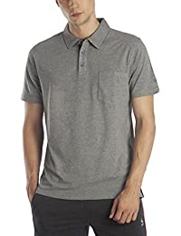 Lavos Men's Anti Microbial Bamboo and Cotton Active Polo T-Shirt - Heather Grey