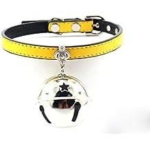 Moda PU Cuero ajustable Pet Bells Collares para gatos, perritos del bebé, perros