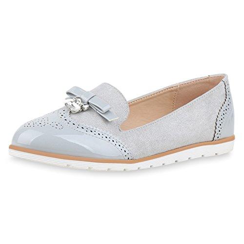 SCARPE VITA Damen Slippers Lack Loafers Strass Slip on Schuhe Schlupfschuhe 161862 Grau Strass 38