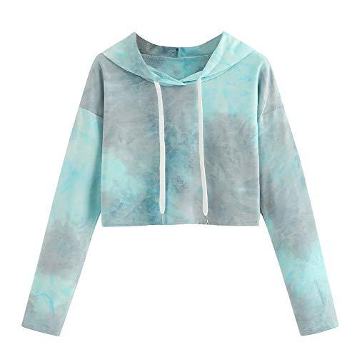 cinnamou Damen Langarm Tie Dye Drawstring Hoodie Sweatshirt Lässige Bluse Pullover Lässiger, langärmliger Kapuzenpullover für Frauen, gefärbt - Frauen Tie-dye-sweatshirt Für