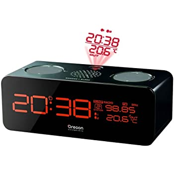 Oregon Scientific RRM320 FM Projection Clock with Indoor & Outdoor Temperature Sensor,Black