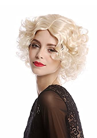 WIG ME UP ® - Wig Ladies Women Halloween Carnival Cosplay Hollywood Diva short curly straightened middle parting bright blond