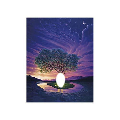 socoola DIY 5D Nachtlicht Baum Schatten Diamant Kreuzstich Runde Diamant Wohnzimmer Schlafzimmer Dekoration 25X30CM