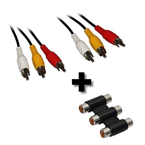 AV/TV/Video Kabel/Verlängerung Set 3x Cinch/RCA Kabel Stecker auf Stecker + 3fach Kupplung Buchse, Länge: 10,0 m (10m), schwarz