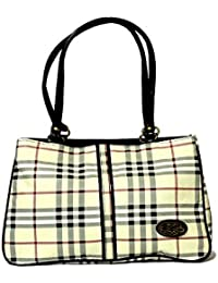 RISH® Black And White Colour With Checks Geometric Pattern Fashionable Handbag For Women