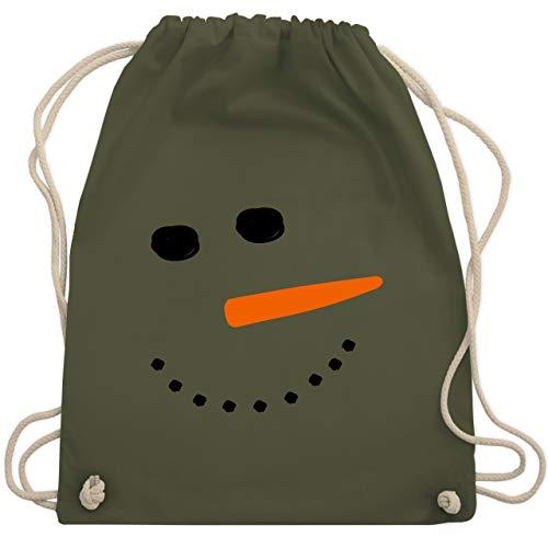 ann Gesicht Snowman - Unisize - Olivgrün - WM110 - Turnbeutel & Gym Bag ()