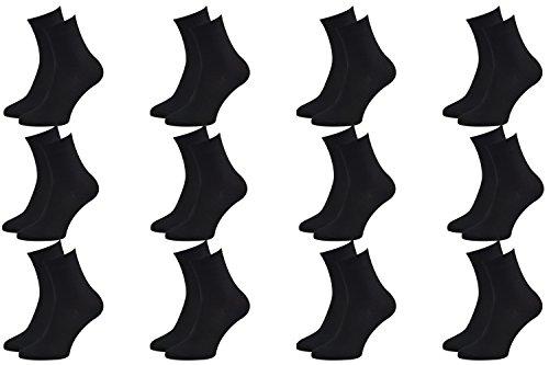 12 Paar Bambussocken für jeden Tag, Business-Socken zart für die Füße, Antibakteriell, Atmend, weich und Bequem, Schwarz, Größen 39-41, Zertifikat Öko-Tex, Herstellung in Europa