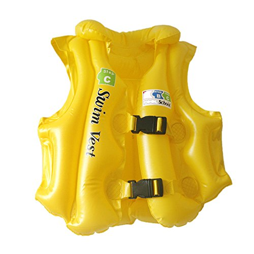 Swim Jacket Kids Children Inflatable Swim Vest Life Jacket with 3 Valves + 2 Quick Release Buckles - For Swimming, Water Sports - Size: 50 cm x 43 cm  available at amazon for Rs.349