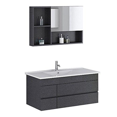 Preisvergleich Produktbild Badmöbel Badmoebel Appenzell in Schwarz incl. Spiegelschrank