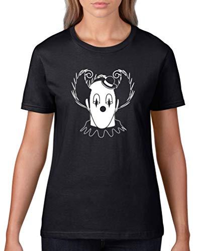 Comedy Shirts - Halloween Clown - Damen T-Shirt - Schwarz/Weiss Gr. L