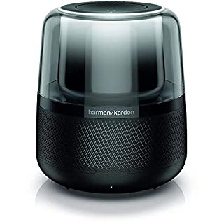 Harman Kardon Allure Voice-Activated Smart Speaker with Bluetooth, Built-In Amazon Alexa Feature, Modern Light Effects, Google Compatible, Black