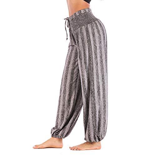 Pantalon Fluide Femme Imprimé Florale Ryures Pants Éléphant Yoga Doux Casual Losse Pantalon Sarouel Aladin Jogging Hiver(Gris Rayure,X-Large)
