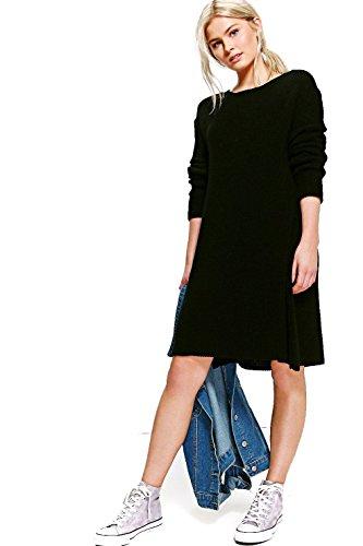 Schwarz Damen Maisie Ausgestelltes Kleid Aus Strick Schwarz