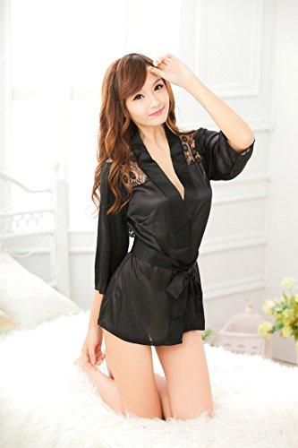 Demarkt Reizwäsche Rose Spitze Haushalt Kleid sexy Bademäntel Sauna Kleidung schwarz x S Grün x L