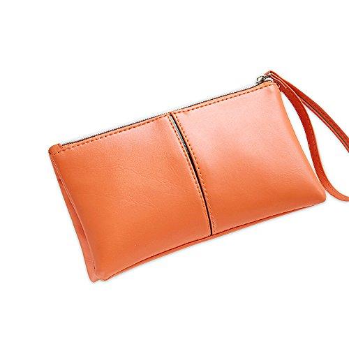Portamonete da donna con cerniera singola con cerniera lunga e portamonete da donna con cinturino da polso arancia