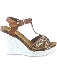 4138d9760471 Sommer Frauen 4 cm Plattform Höhe Mode Schuhe Casual Anlässe Bequeme Flache  Sandalen Klettverschluss und Runde