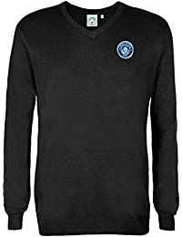 Manchester City FC Official Football Gift Mens Crest Knitted V-Neck Jumper