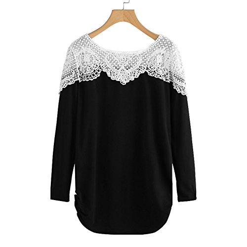 Schwarz Damen Xl Pullover (Fancathy Damen Kontrast Hollow Out Spitzen Langarm T-Shirt Top mit Aushöhlen und Häkelarbeit Damen Baumwolle Patchwork Häkeln Shirt Pullover Blusen ,  ( Schwarz - XL ) )