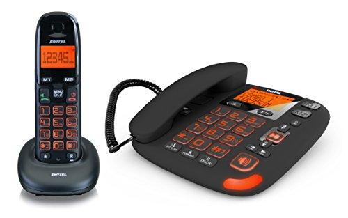 Switel DCT50072 VITA DECT Seniorentelefon SET aus Mobilteil und schnurgebundenem Telefon mit Anrufbeantworter, Hörgerätekompatibel