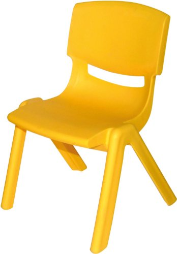 BIECO Kinder Stuhl aus Kunststoff, ca. 36 x 34 x 51.5 cm, stapelbar, für Drinnen und Draußen, gelb, max. Belastbarkeit 80 kg, 04000001