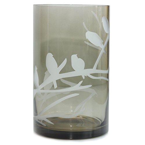 Unbekannt Windlicht Zylinder Vogel Glas Bernstein grau modern Design 20 cm -