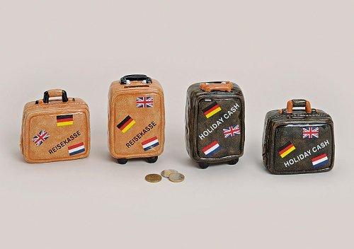 Wunderschöne Spardose Koffer, tolle Spardose für den Urlaub / Hochzeitsreise, etc., Menge: 1