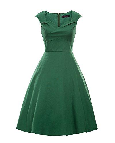 LaoZan Damen Retro Swing-Kleid Ärmellos Partykleid Baumwollmischung Cocktailkleider Abendkleider Grün