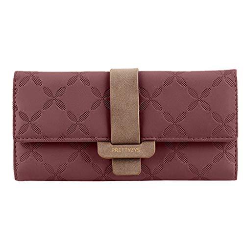 Happy Hobo Handtasche (XZDCDJ Damen Geldbörsen Brieftasche Ausweistaschen Handtasche Clutch Mode Schnalle Persönlichkeit Multi Card Lange Brieftasche Wein)