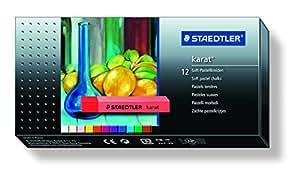 STAEDTLER karat soft pastel chalks box set of 12 assorted colours pastels - ideal for art/school/artist/hobby