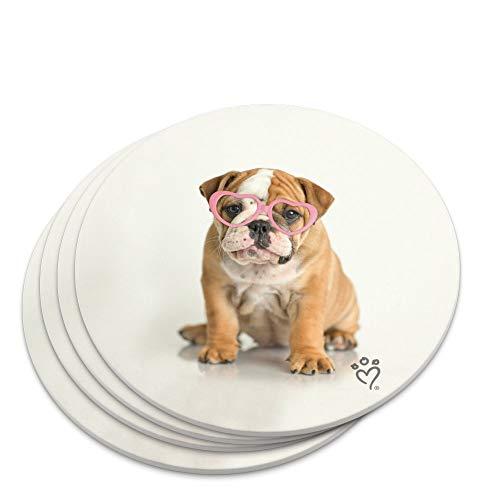 Untersetzer mit Brille, Motiv Britische Bulldogge, Hund mit Herzmotiv