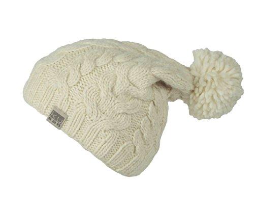 781814377 Kusan 100% Wool Cable Knit Bobble Beanie hat (PK1128/KU1501)  (Mens/Ladies/Unisex) (off-White)