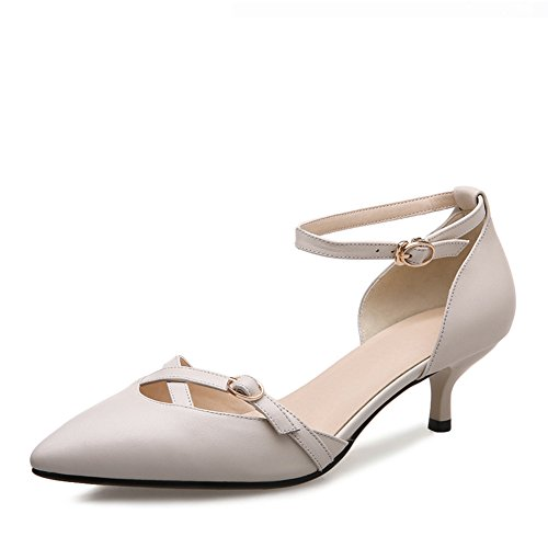 Con scarpe/La versione coreana delle scarpe con la punta cava cinturino/Scarpe in pelle/Scarpe donna sposa-A Lunghezza piede=21.8CM(8.6Inch)