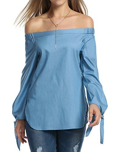 ZEARO Damen Elegant Schulterfrei Bluse Hemd Tshirt Top Oberteil Shirt Blau
