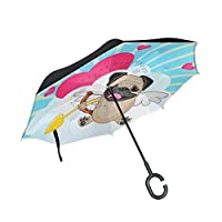 BENNIGIRY Cute Pug Dog Pattern Print Car Inverted Umbrella Outdoor, Windproof And UV Proof Reverse Folding Umbrella With C-Shaped Hands Free Handle