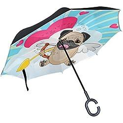 bennigiry patrón de perro carlino Impresión coche auxiliar paraguas al aire libre, resistente al viento y UV prueba Reverse plegable paraguas con manos libres en forma mango, Unisex, Color#002, talla única