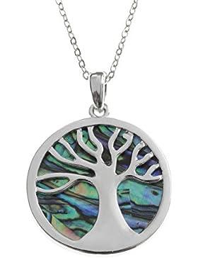 Kiara Schmuck keltischer Baum des Lebens Anhänger Halskette eingelegten beide Seiten mit bläulich grün Paua Abalone...