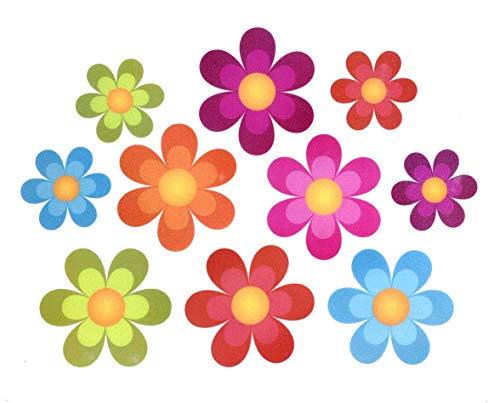 NAXIEE 10 Stücke Anti-Rutsch Sticker,rutschfeste Badewanne Aufkleber, große Blume Form Kleber Kinder rutschfeste Aufkleber Treter für Badewanne/Duschen/Pools/Badezimmer (Helle Blumen)