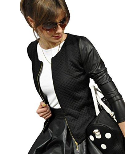 Baymate Donne Autunno Slim Fit Elegante Giacca Corto Blazer Top Camicetta Outwear Maglietta Nero