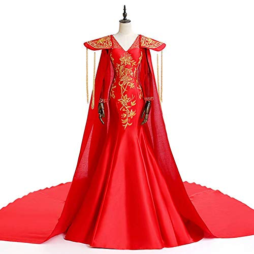 QAQBDBCKL rot mit Stickerei Perlen Meerjungfrau Kleid mit Langen Mantel Krönung Zug Rokoko Gericht...