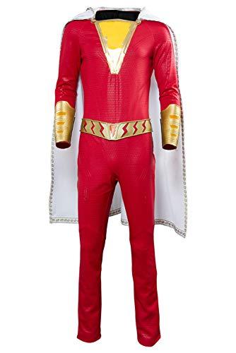 RedJade Superheld Shazam Billy Batson Shazam! Captain Superhero Marvel Jumpsuit Cosplay Kostüm Rot Herren - Shazam Superheld Kostüm