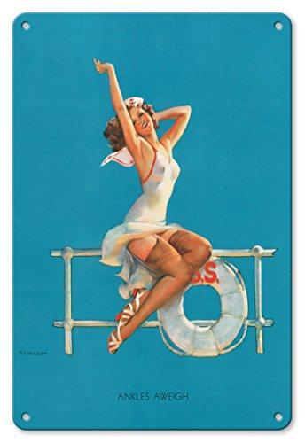 Pacifica Island Art 22cm x 30cm Vintage Metallschild - Ankles Aweigh - Sexy Matrosen Pin-up-Mädchen - Vintage Retro Pin Up Kalender Seite von Gil Elvgren c.1939 (Vintage Pin-up-kalender)