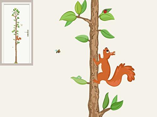 """Messlatte """"Baum mit Eichhörnchen"""" Waldtiere Wandtattoo Wandsticker für Kinderzimmer"""
