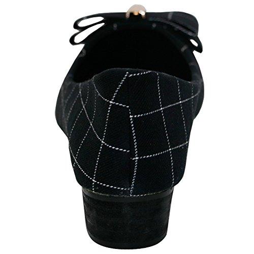 Schleife Zehe Niedriger Absatz Damen Auf Spitz metallisch Schwarz Schuhe Ziehen Mit Aalardom Pumps qEvFtt