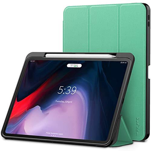 Infiland iPad Pro 11 Zoll 2018 Hülle mit Apple Pencil Halter, Smart TPU Schräges Tuch Schutzhülle Tasche mit Auto Schlaf/Wach Funktion (Unterstützt Das Aufladen des Apple Pencil),Minzgrün (Tuch, Ipad Tasche)
