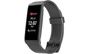 MyKronoz ZEFIT4HR-BLACK Traqueur d'activité avec capteur de rythme cardiaque, écran couleur tactile et notifications smartphone – Noir / Noir